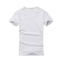 纯棉V领短袖T恤定制班服工作服工衣广告文化衫定做衣服印字印LOGO