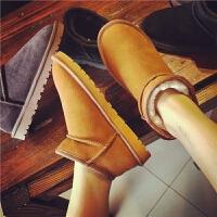 欧洲站冬季新款真皮低筒雪地靴复古靴子保暖短靴棉鞋学生平底女鞋