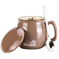 贝瑟斯带盖陶瓷杯子马克杯咖啡杯牛奶杯创意大容量带勺水杯