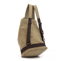 双肩包男士时尚潮流韩版学生书包帆布水桶包休闲旅行背包大容量包 咖啡色 供应
