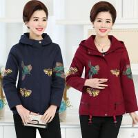 妈妈装春秋新款外套50-60岁中老年女装风衣秋季夹克休闲全棉上衣