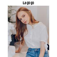 Lagogo/拉谷谷2019夏季新款时尚系带刺绣V领短袖衬衫HACC234A18