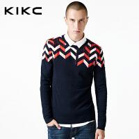 kikc长袖针织衫男2018秋季新款青少年韩版撞色休闲修身潮上衣男士
