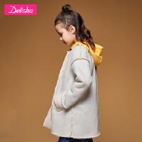 【2折价:128】笛莎女童上衣冬新款中大童儿童加绒中长款简约圆领休闲外套