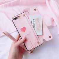 粉色大理石苹果xs零钱卡包苹果6splus手机壳全包防摔女款苹果x新款苹果7plus创意8plus硅 i6 粉爱心钱包