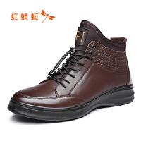 红蜻蜓马丁靴男男鞋冬季高帮中帮鞋子真皮单靴男单皮鞋
