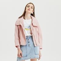 【5.16-5.17日抢购价:119.9】MECITY女装春季新款时尚粉色可拆卸连帽休闲夹克