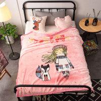 云毯双层加厚冬季保暖法兰绒毛毯被子学生儿童卡通单人珊瑚绒床单 甜心 粉玉 1.5x2米【4斤双层加厚加密】