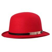 秋冬大檐礼帽 女士爵士帽子 M字母金属标毛呢 毡帽