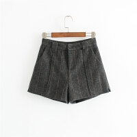 女装20冬季新款韩版高腰显瘦毛呢格纹休闲短裤外穿靴裤0908