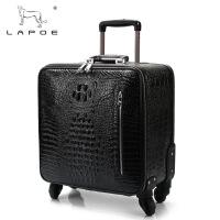拉杆箱万向轮旅行箱鳄鱼纹行李箱 黑色 20寸