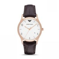 阿玛尼(Emporio Armani)手表 皮质表带男士经典时尚休闲石英腕表 AR1915