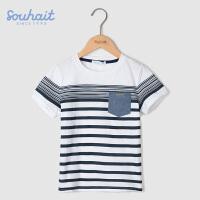 水孩儿souhait男童夏季短袖t恤新款儿童半袖T恤圆领上衣夏装AQAXM561