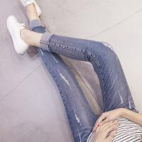 孕妇裤春秋打底裤春季破洞牛仔裤九分裤夏装裤子夏薄款托腹小脚裤