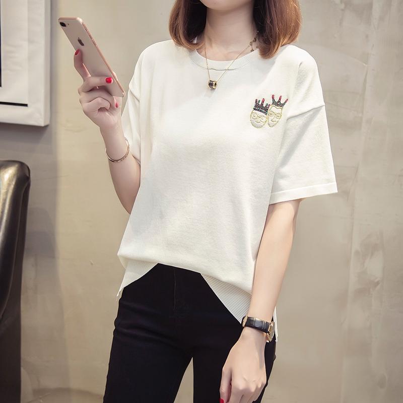 2018新款韩版夏纯棉宽松白色刺绣卡通人头像T恤女短袖体恤打底衫