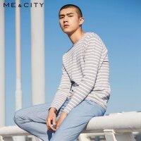 【1件2.5折到手价:109】MECITY男士春季条纹时尚撞色打底针织衫潮流毛衣
