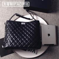 上新大包包新款女包潮韩版时尚简约菱格链条包百搭单肩斜挎包 黑色大号