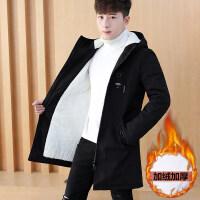 冬季外套男士加绒加厚连帽棉衣韩版修身潮流风衣男装休闲保暖夹克