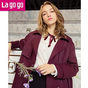 【秒杀价139】Lagogo/拉谷谷2019年秋新时尚腰带装饰翻领中长款风衣