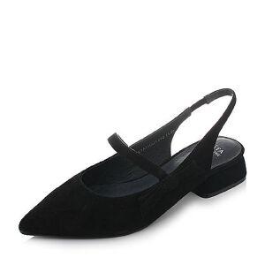Tata/他她2018春羊皮绒面尖头一字带粗跟玛丽珍鞋女凉鞋S1A11AH8