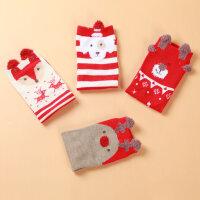 儿童袜子春秋款 女童棉袜红色圣诞袜纯棉 宝宝中筒袜节日袜子