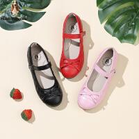 暇步士Hush Puppies童鞋18新款儿童皮鞋时尚格菱纹女童时装鞋校园学生鞋(5-10岁可选) DP9290