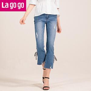 【清仓3折价107.7】Lagogo/拉谷谷2019夏季新款脚口绑带毛边牛仔裤HANN433C52