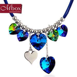 新年礼物Mbox项链 女韩国版原创采用施华洛世奇元素水晶锁骨项链 湛蓝之心