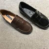鞋你好 秋冬新款韩版英伦女鞋简约套脚纯色乐福鞋平底单鞋小皮鞋