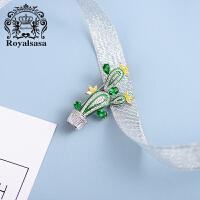 皇家莎莎仙人掌胸针女新款植物仿珍珠胸花别针创意西装韩国配饰品