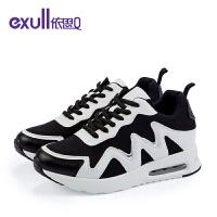依思q新款几何拼色休闲鞋系带圆头运动气垫女鞋