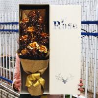 24K金玫瑰卡通花束金箔玫瑰花束女生送女友仿真玫瑰花束 9朵金箔花 黑金 镂盒