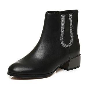 Tata/他她秋季牛皮通勤拼接风方跟女短靴U4028DD6