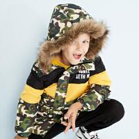 【全场2件2.5折,到手价:177.3】美特斯邦威旗下moomoo童装儿童羽绒服冬装新款中长款迷彩男中童外套