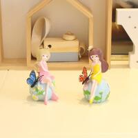 家居摆件创意树脂蝴蝶美女娃娃工艺品客厅书桌电视柜迷你装饰品