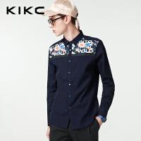 kikc衬衫男2018春季新款韩版学生印花时尚潮流纯棉修身长袖衬衣男