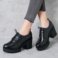 女士棉皮鞋高跟女士单鞋2018秋冬高跟短靴马丁靴厚底加绒粗跟系带妈妈棉皮鞋srr