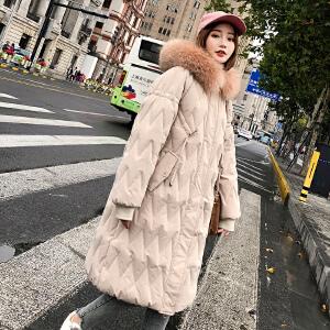 Freefeel 2018冬季新款女装羽绒棉服中长款韩版休闲大毛领保暖棉衣BSSY1825