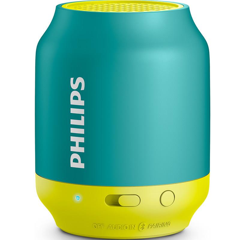 Philips/飞利浦 BT25蓝牙音箱便携迷你手机小音响低音炮音乐精灵 绿色 家电自营  蓝绿色