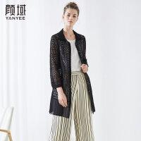 颜域品牌女装2018夏季装新款时尚衬衣领H型蕾丝拼接雪纺镂空外披