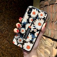 网红iPhone8/7plus手机壳苹果X/XS/MAX/XR功能支架6s玻璃女款 6/6s 4.7寸玻璃白色花