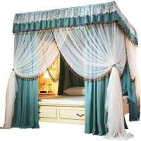 床帘蚊帐一体式简约欧式遮光加厚落地公主幔纱床幔家用卧室带支架