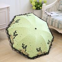 蕾丝花边雨伞 遮阳伞黑胶女太阳伞三折叠两用小清新晴雨伞