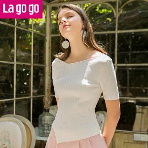 Lagogo2017夏季新款时尚百搭短袖纯色针织衫女薄款不规则修身上衣