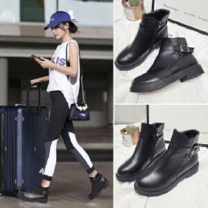女式 秋冬新款时尚百搭平跟女靴加绒侧拉链潮流马丁靴女