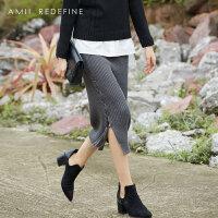 [AMII东方极简]设计师品牌JII[东方极简]2017冬新款女装修身松紧腰毛针织半身裙开叉包臀裙
