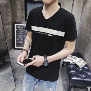 男士夏季新品纯棉V领修身短袖T恤拼色打底衫潮流DS93T30