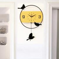 钟表挂钟客厅静音个性家用小鸟时钟创意现代装饰大气卧室时尚挂表 24英寸