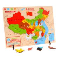 中国地图木质拼图学生手抓板认知世界地图儿童益智玩具3-4-6-8岁