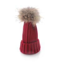 秋冬帽儿童男童保暖帽子 可爱亲子大毛球毛线帽 女士厚针织帽子
